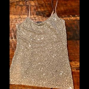 Express Sequin Tank in Taupe Fabulous-ness!